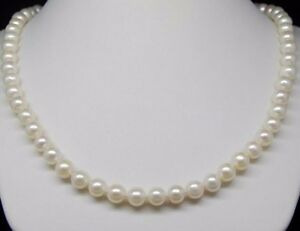 NEW-round-AAA-6-7-MM-NATURAL-White-AKOYA-PEARL-NECKLACE-14K-GOLD-CLASP