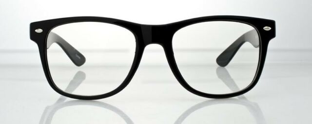 CLEAR LENS VINTAGE STYLE BLACK FRAME Hipster Glasses Sunglasses NERD GEEK RETRO