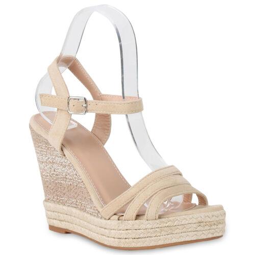 Damen Sandaletten Keilabsatz Schuhe High Heel Wegdes Bast 830502 Trendy Neu