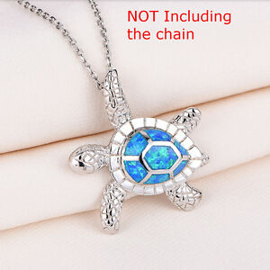 Beautiful-Blue-Fire-Opal-925-Sterling-Silver-Turtle-Necklace-Silver-Chain-40cm
