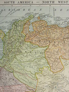 1919 LARGE MAP SOUTH AMERICA NORTH WEST VENEZUELA COLOMBIA