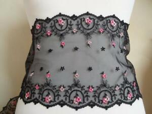 Nicht-elastische-bestickte-Spitze-Spitzenborte-schwarz-2-Toene-rosa-18cm-breit
