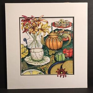 """Art Print Tea Pot """"The Harvest Party Tea"""" Painting Drawing Matted Fall Autumn"""