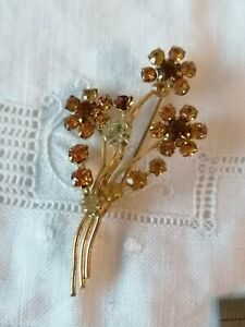 VINTAGE-40s-Amber-Diamante-Paste-Flower-Spray-Posy-Gold-Retro-Pin-Brooch