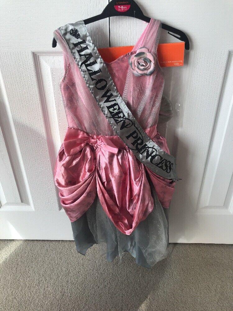 HALLOWEEN Girls Fancy Dress Age 7-8 Pink Grey Tutu NET ZOMBIE PRINCESS *BNWT*