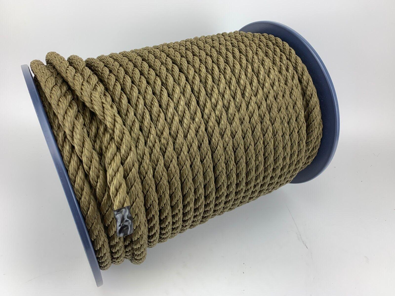 14mm Olive Khaki Softline Rope x 50 Metre Reel, Floating Mooring Lines Yacht