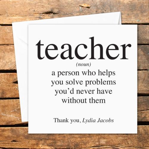 Personalised Thank You Teacher Card Nursery Nurse Male Female Funny Help Amusing