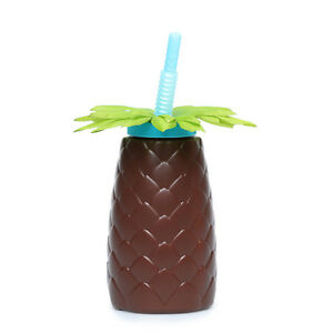 Cute Fun Hawaiian Brown Pineapple Hawaii Plastic Sipper Cup Tumbler Blue Straw