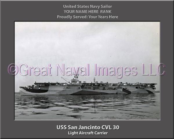 USS San Jacinto CVL 30 Personalized Canvas Canvas Canvas Ship Photo Print Navy Veteran Gift fe088b