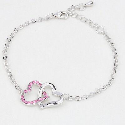 Fashion Pink Crystal Charm Heart To Heart Bracelets Bangle Chain For Women Lady