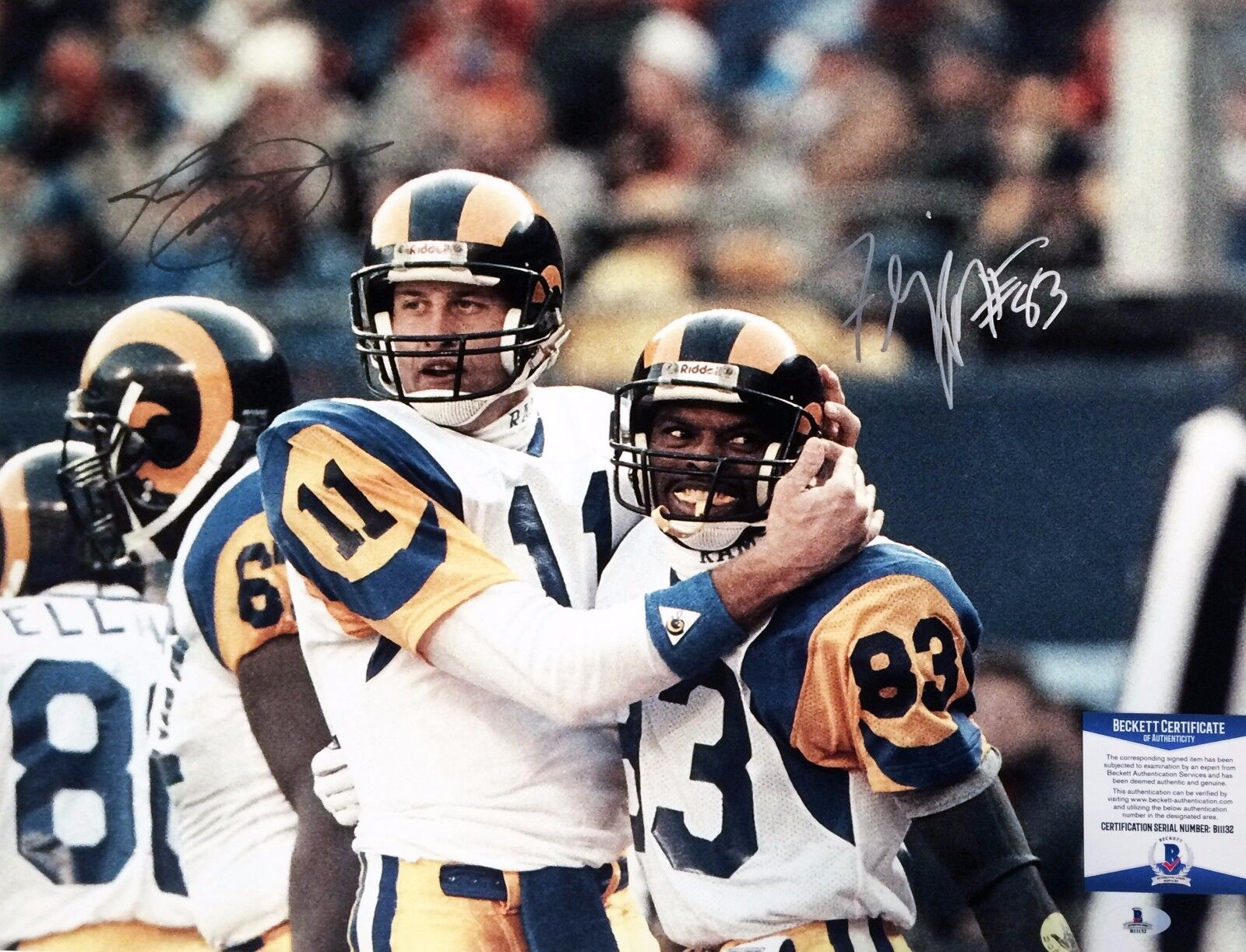 Los Angeles Rams Jim Everett Flipper Anderson Signed 16x20 Photo BAS B11132