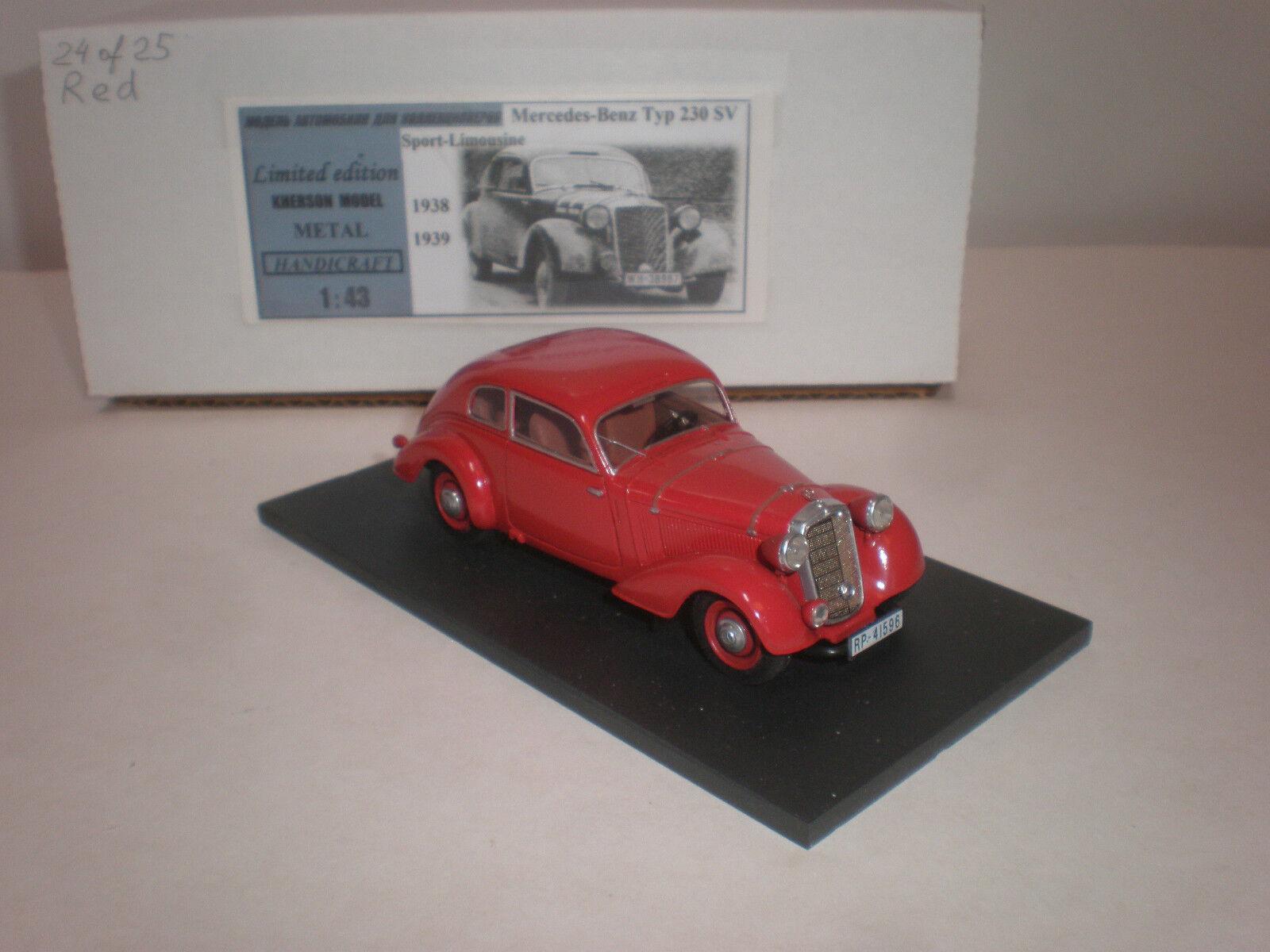 1 43 1938-1939 Mercedes Benz 230 SV Sport limusina (versión de calle) rojo
