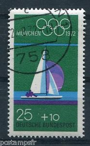 ALLEMAGNE-FEDERALE-1972-timbre-571-SPORTS-JEUX-OLYMPIQUES-VOILE-oblitere