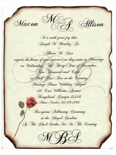 Qté 50 Monogram style B Parchemin Mariage Fête Invitations invite