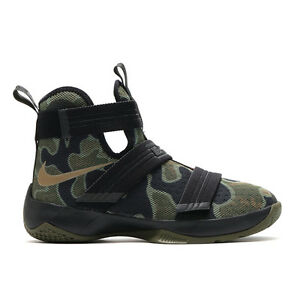 78f43550bee NIKE LEBRON SOLDIER 10 GS BLACK BAMBOO-MID OLIVE Men s Sz 16 ...