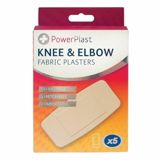 5 x KNEE + ELBOW PADDED EXTRA LARGE PLASTERS -  GUAZE PREVENTS STICKING TO WOUND