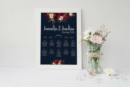 Seating Chart Personalised Watercolour Floral Autumn Navy Wedding Table Plan