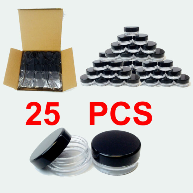 ebd29f79a9e8 High Quality Clear Plastic Cosmetic Container Jars With Black Lids 25pcs