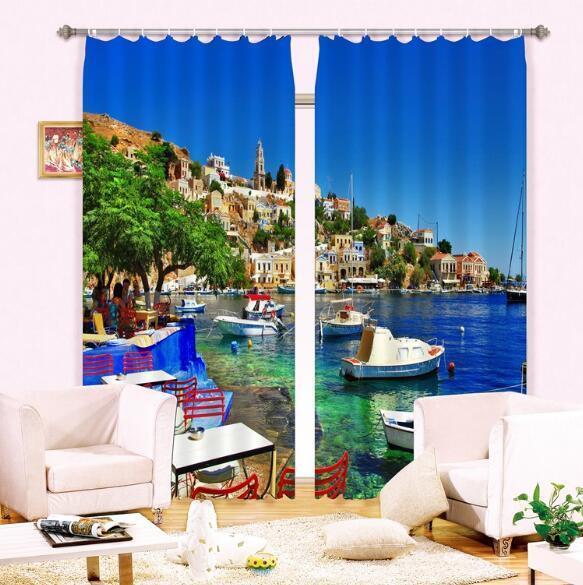 Buque Ciudad 3D 40 Cortinas de impresión de cortina de foto Blockout Tela Cortinas Ventana CA