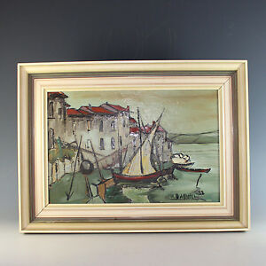 Oil-on-Board-Painting-of-a-Seaside-Village-in-Southern-France