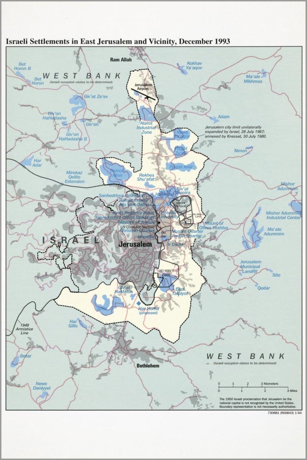Poster, Molte Misure; Cia Mappa Del Gerusalemme 1994