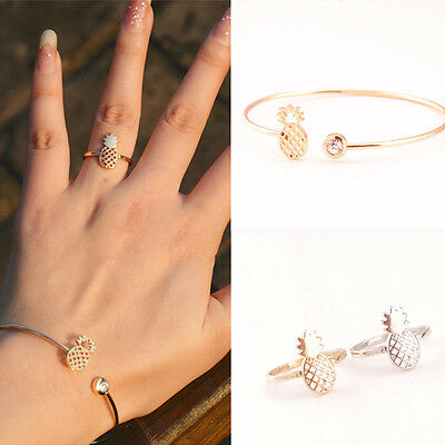 2pcs/set Women Pineapple Rings & Bracelet Stylish Alloy Rings Jewelry Gift