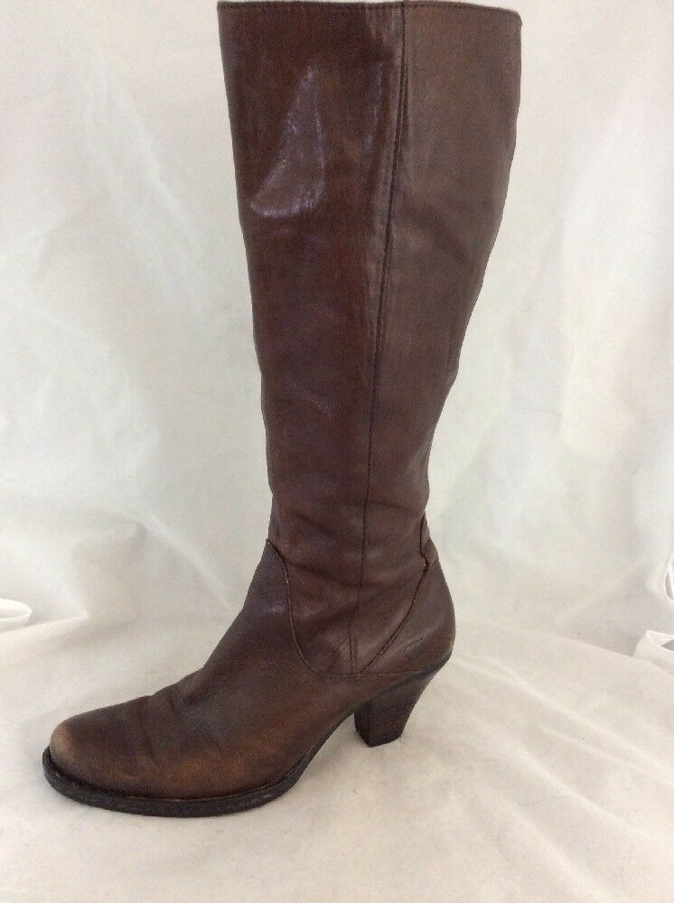BORN Size 7 38 Brown Leather Tall Boots
