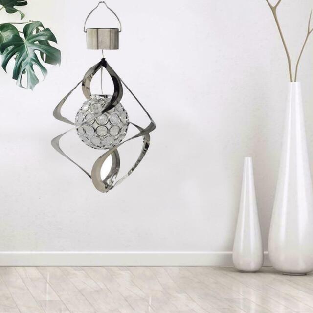 Solar Power LED Light Wind Spinner Chimes Spiral Garden Courtyard Hanging Lamps