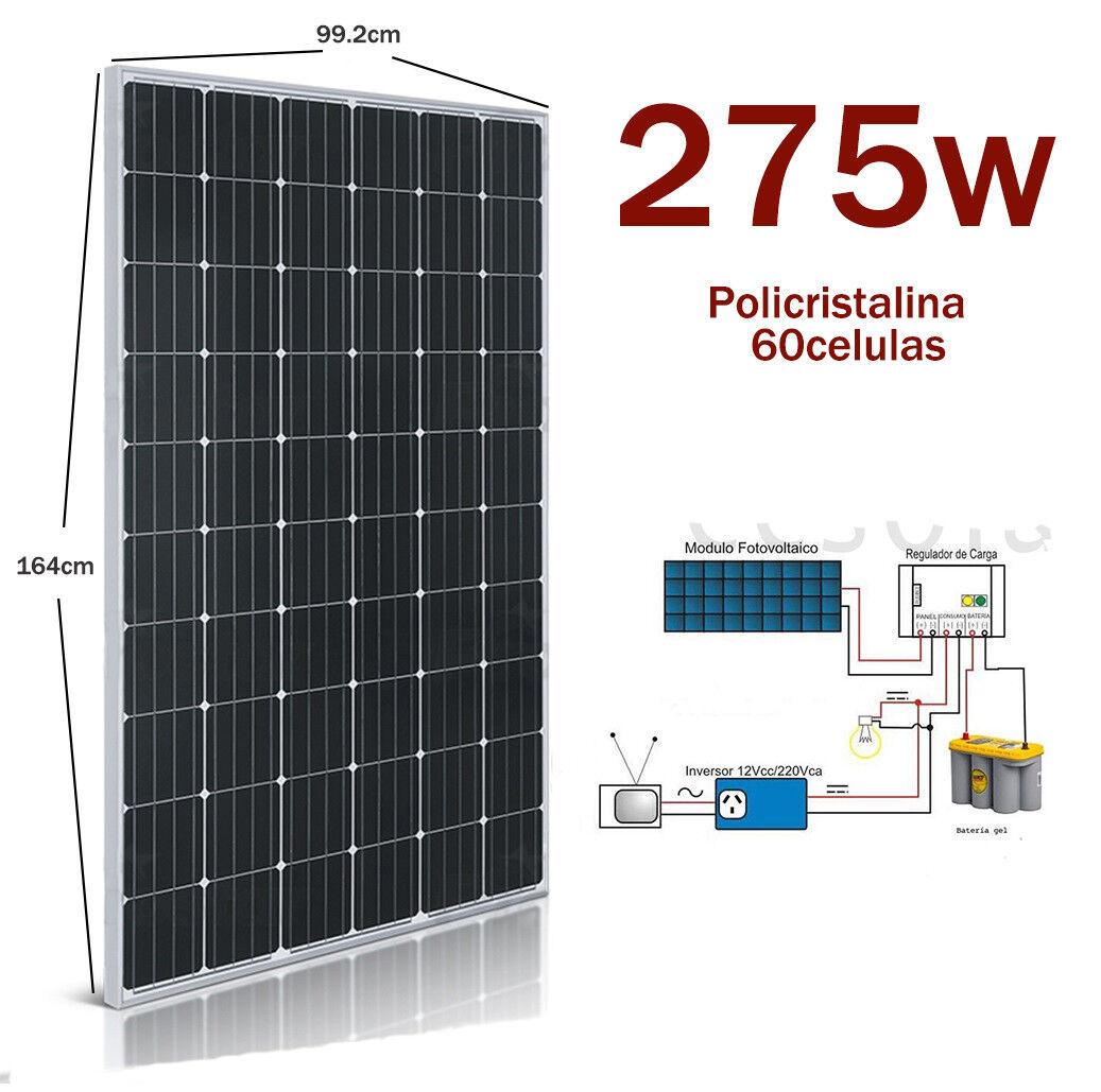 Placa Solar 275w 12v 24v Panel Solar Fotovoltaico Monocrystalline 60 celulas