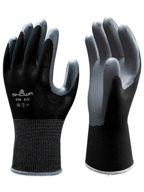 M1 6 Pack LARGE SHOWA Atlas 370 Nitrile Black Garden Work Gloves New W//TAG