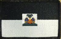 Haiti Flag Iron-on Tactical Patch Black & White Version. Black Border 31