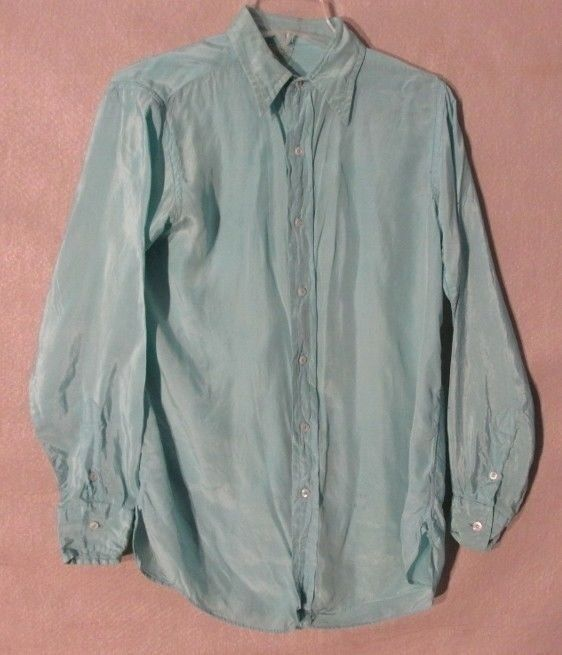 V7085 Townly Size 15.5 1950's Teal Pure Silk Button Up Long Sleeve Shirt