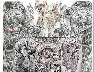 tattoovorlagen boog tattoo flash cd motive chicano style neu bonus 2016 ebay. Black Bedroom Furniture Sets. Home Design Ideas