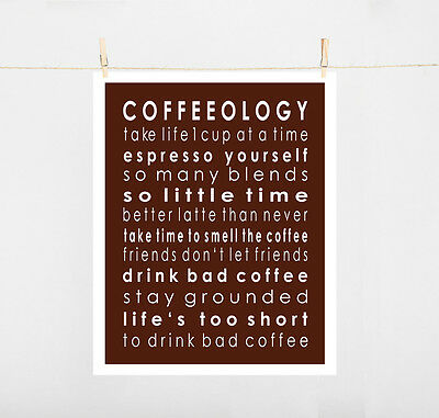 Typography Art Print on paper size A4 COFFEEOLOGY...