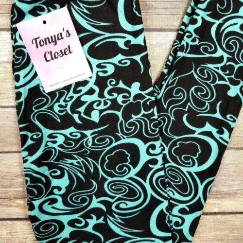 Kids Girls Toddler Leggings Green and Black Abstract Swirl   S//M  /&  L//XL