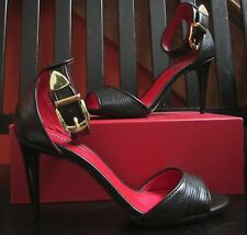 Charles Jourdan Paris GAVEN Ankle Gold Buckle Open Toe Heels Sz 10 NWOB