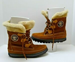Details about TIMBERLAND MUKLUK lace up CHESTNUT BROWN BOOTS faux fur top 26611 women US 8 M