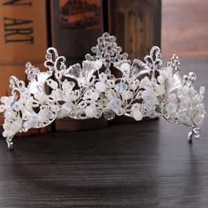 Bridal-Princess-Rhinestone-Pearl-Leaf-Crystal-Hair-Tiara-Wedding-Crown-Headband