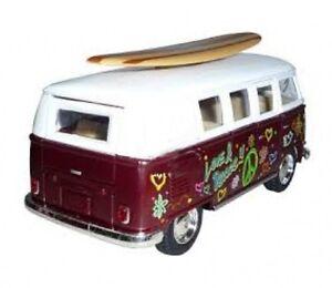 Kinsmart-Volkswagen-Classical-Bus-1962-Tabla-De-Surf-1-32-Diecast-Modelo-Bus-Granate