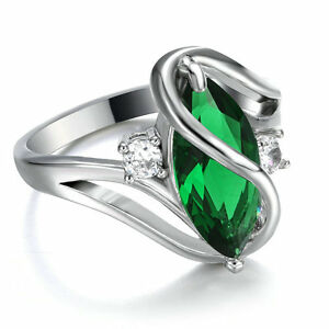 SZ-5-5-Marquise-Cut-Emerald-Wedding-Ring-10Kt-white-Gold-Filled-Valentine-Gift