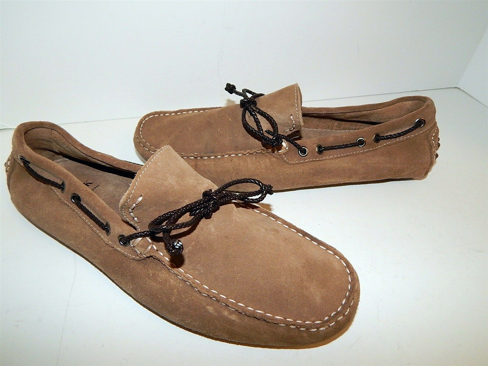 Mens Saks Fifth Driving Ave 10.5 M Sand Suede Leather Driving Fifth Loafers Italy a3548e