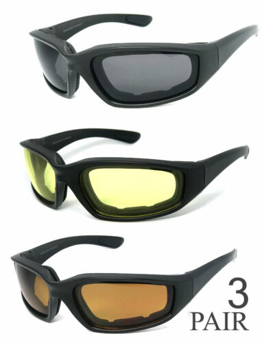 Men Women Padded  Foam Wind Resistant Motorcycle Riding Sunglasses UV400