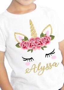 Image Is Loading Unicorn Birthday Shirt Custom Name And Age