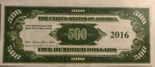 NOVELTY BILL 2016 DONALD TRUMP $500 DOLLAR FEDERAL RESERVE NOTE IN HOLDER
