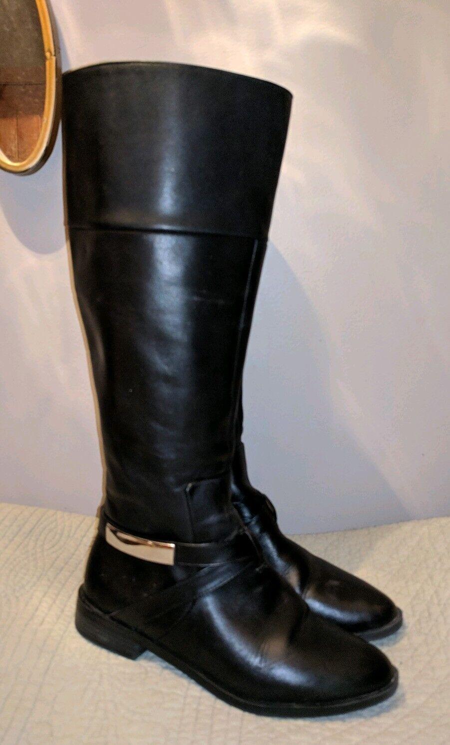 Alfani extendido de Ancho Pantorrilla Cuero Negro botas De Montar Montar Montar Señoras Alto 6.5 M  tienda de venta en línea