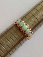 Fine Attractive Edwardian 18ct Gold Graduated Opal Ring - Birmingham 1907