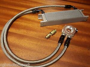 Renault-5-Gt-Turbo-Enfriador-De-Aceite-Kit-10-Fila-235mm-Acero-Trenzado-Mangueras-Termostato