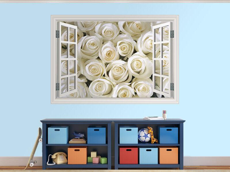 Incroyable Roses Blanches Photo Fenêtre Autocollant Mural Décoration (8999946ww) | | | Nouveaux Produits  3cb60d