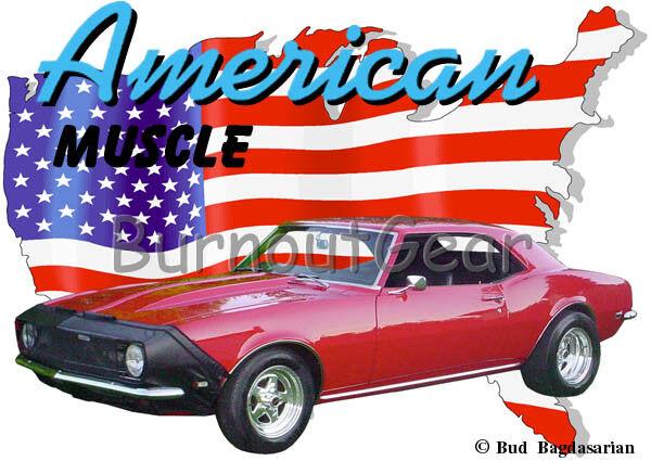 1968 ROT Chevy Camaro bra Custom Hot Rod USA T-Shirt 68 Muscle Car Tees