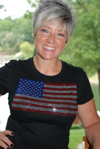 American Flag rhinestone bling shirt XS S M L XLXXL 1X  2X 3X 4X 5X lg flag